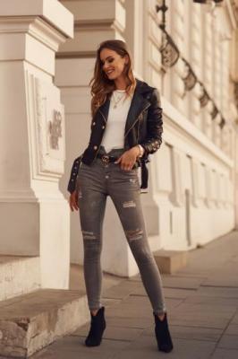 Spodnie jeansowe z wysokim stanem i dziurami szare 2605