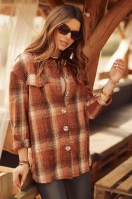 Ruda ciepła koszula damska w kratę 3346