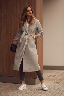 Elegancki płaszcz damski z paskiem szary 6763