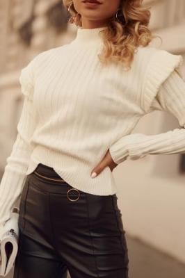 Krótki sweter motylek z półgolfem prążkowany ekri 190179