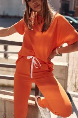 Dres damski z krótkim rękawem pomarańczowy FK542