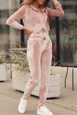 Welurowy dres damski różowy FG546
