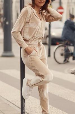 Welurowy dres damski beżowy FG546