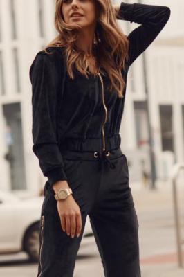 Welurowy dres damski czarny FG546