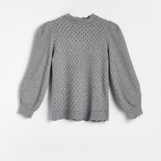 Reserved - Sweter z ażurowym wzorem - Szary