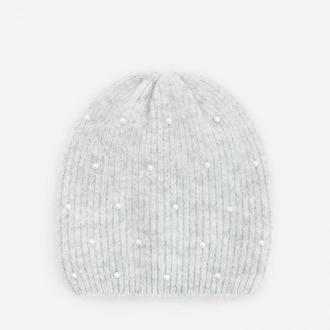 Reserved - Melanżowa czapka ze sztucznymi perełkami - Jasny szary