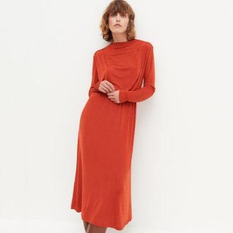 Reserved - Dzianinowa sukienka z drapowaniem - Czerwony