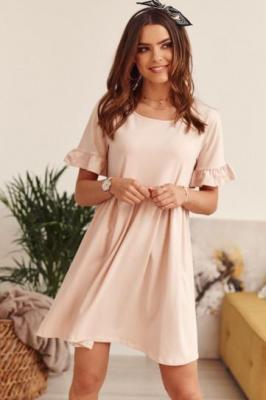Sukienka oversize z krótkim rękawem pudrowa FK530
