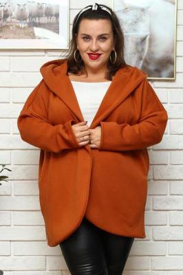 Bluza kardigan oversize ciepła z kapturem AKSZA karmelowa
