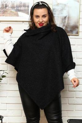 Płaszcz - ponczo swobodne ciepłe MIRIAM z guzikami czarne PROMOCJA