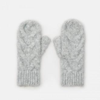 Cropp - Rękawiczki z warkoczowym splotem - Jasny szary