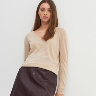 House - Wiskozowy sweter z błyszczącą nitką - Kremowy