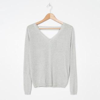 House - Wiskozowy sweter z błyszczącą nitką - Srebrny