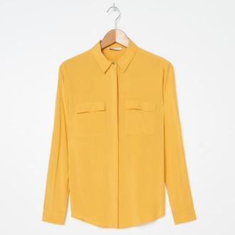 House - Wiskozowa koszula z kieszeniami - Żółty