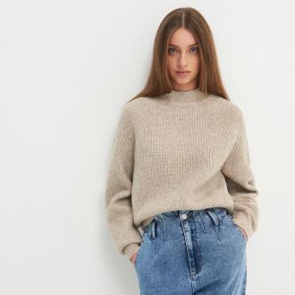 House - Melanżowy sweter z półgolfem - Beżowy