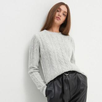 House - Sweter z warkoczowym splotem - Jasny szary