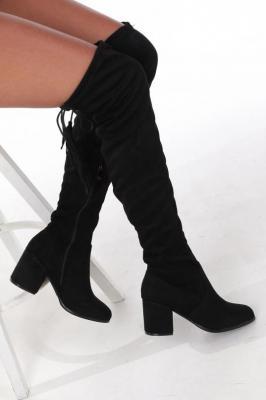 Czarne kozaki muszkieterki za kolano na szerokim słupku z frędzlami Casu G19X33/B