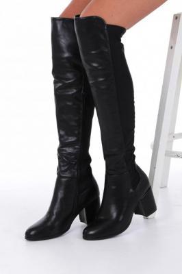 Czarne kozaki muszkieterki za kolano na szerokim słupku z lycrą w cholewce Casu G19X36/B
