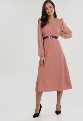 Jasnoróżowa Sukienka Dzianinowa Magiccliff