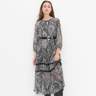 Reserved - Sukienka midi z szyfonu - Czarny
