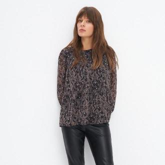 Mohito - Szyfonowa bluzka z falbaną - Czarny