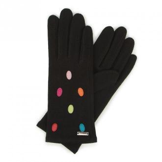 Damskie rękawiczki wełniane z kolorowymi kropkami