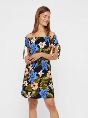 Czarna lniana sukienka w kwiaty z odkrytymi ramionami VERO MODA Efie - S