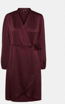 Bordowa satynowa kopertowa sukienka VERO MODA Erin - XS