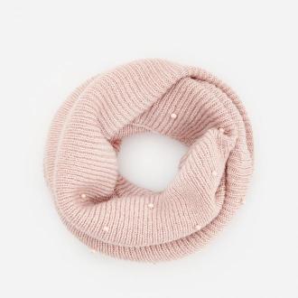 Reserved - Prążkowany komin z perełkami - Różowy
