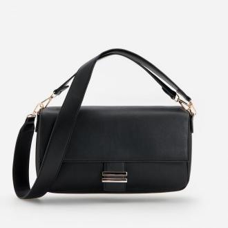 Reserved - Czarna torebka z odpinanym paskiem - Czarny