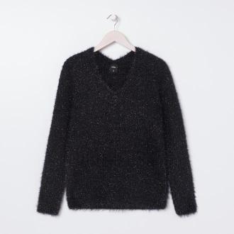 Sinsay - Sweter z błyszczącą nicią - Czarny