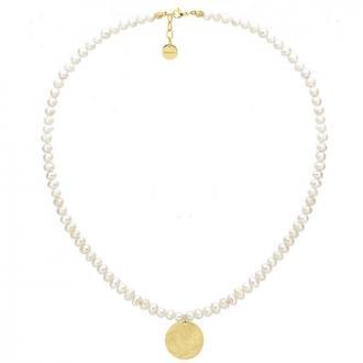 Naszyjnik perły z pozłacanym medalionem
