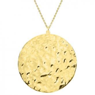 Pozłacany naszyjnik, młotkowany medalion