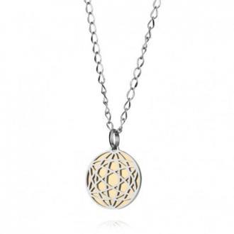 Okrągły, oryginalny naszyjnik damski w kolorze złotym i srebrnym