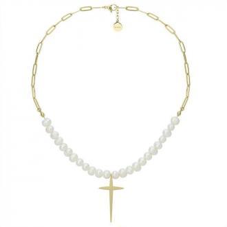 Naszyjnik pozłacany łańcuch z perłami i krzyżem ze stali szlachetnej
