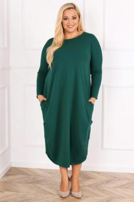 Sukienka tuba dzianinowa long JOJO z kieszeniami butelkowa zieleń