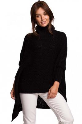 Czarny Asymetryczny Sweter-Ponczo z Golfem