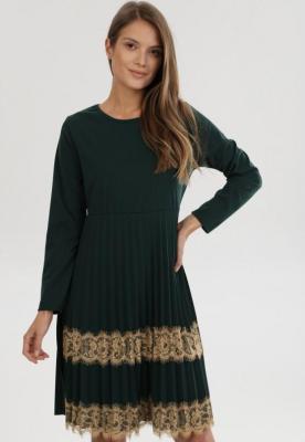 Zielona Sukienka Dzianinowa Nicqinor