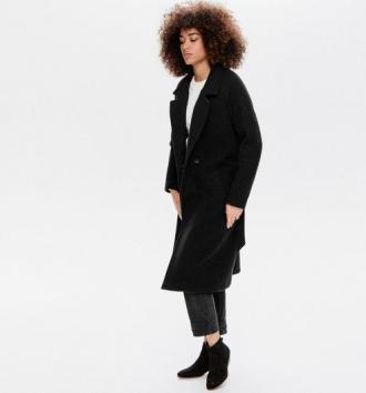 Długi płaszcz z wełną