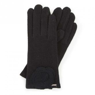 Damskie rękawiczki wełniane z rozetką