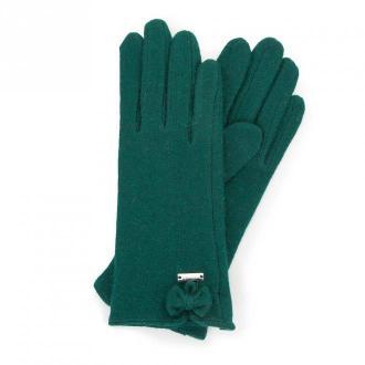 Damskie rękawiczki wełniane z kokardką