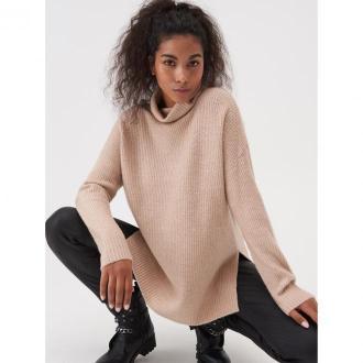 Sinsay - Sweter oversize z dłuższym tyłem - Kremowy