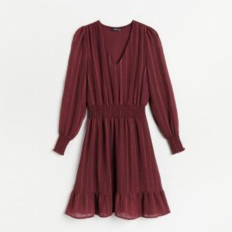 Reserved - Sukienka w paski - Bordowy