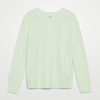 Cropp - Sweter z warkoczowym splotem - Turkusowy