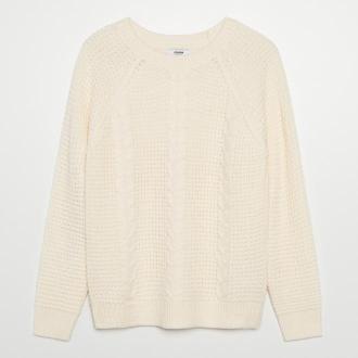Cropp - Sweter z warkoczowym splotem - Kremowy