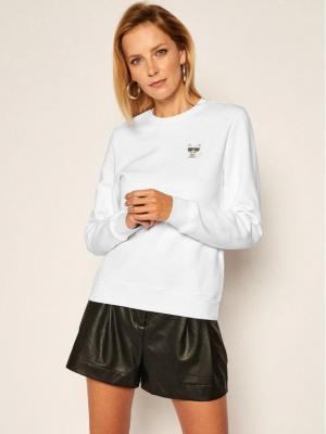 KARL LAGERFELD Bluza Ikonik Mini Choupette 206W1814 Biały Regular Fit