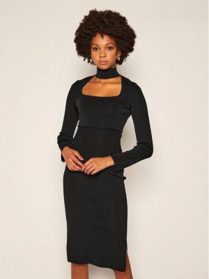 Pinko Sukienka dzianinowa Grecia Al 20-21 BLK01 1G15EF Y69G Czarny Slim Fit