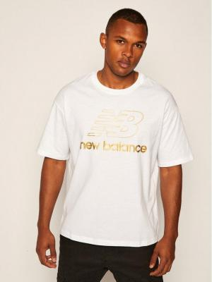 New Balance T-Shirt Nb Vil Stacked NBWT0350 Biały Oversize