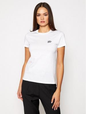 KARL LAGERFELD T-Shirt Signature 201W1780 Biały Regular Fit