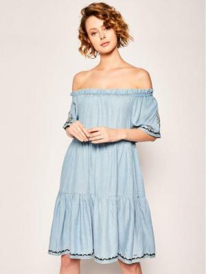 Pepe Jeans Sukienka codzienna Sasha PL952679 Niebieski Regular Fit